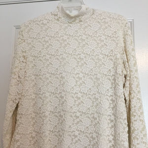 Coldwater Creek Lace Turtleneck w/lining